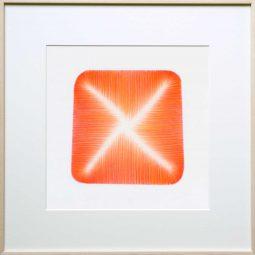 potlood op papier - oranjerood - non-figuratief - verstilling - origineel | 40x40cm | met passe-partout, zonder lijst | € 450