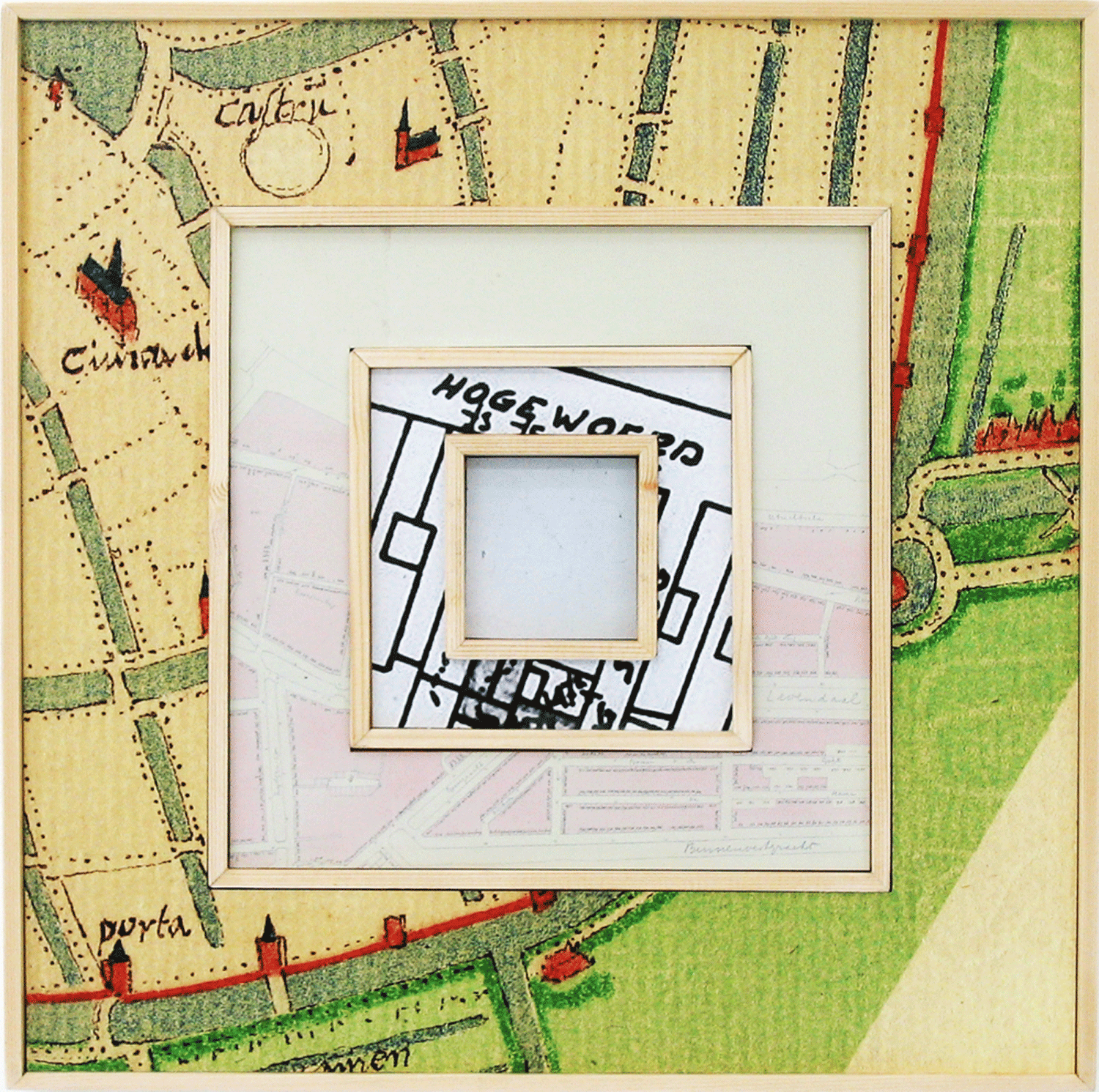 Hogewoerd 77, Leiden: zooming in on time and space by way of maps and plans of this address throughout the ages. Front of the work.