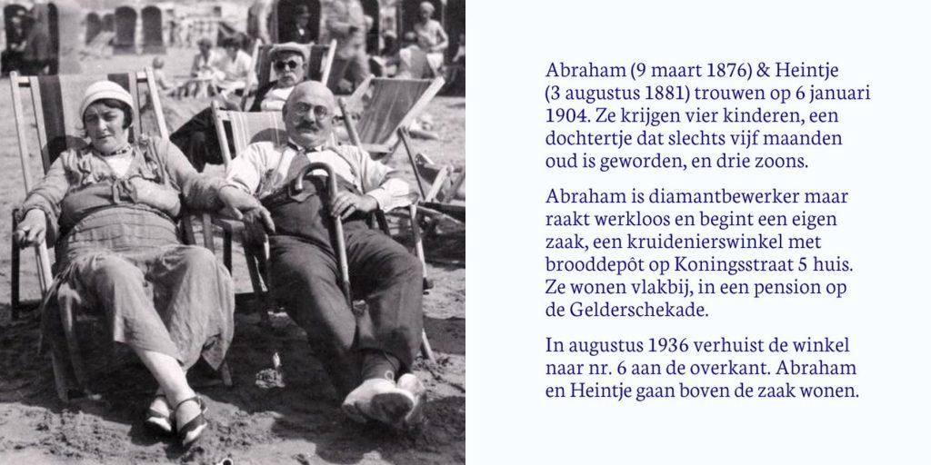 Gedenkinstallatie Koningsstraat | De eigenaars van de kruidenierswinkel zitten in de zon aan het strand. | Informatie over het gezin.