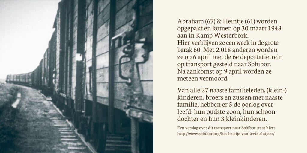 Gedenkinstallatie Koningsstraat | Het bejaarde echtpaar wordt via Westerbork gedeporteerd naar Sobibor waar ze in maart 1943 worden vermoord. Met informatie over overlevenden.