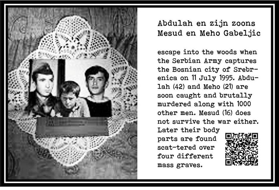 Abdulah, Mesud and Meho Gabeljic, 42, 16 and 21 yrs. Bosnians. Murdered. Genocide, Srebrenica. 1995. Part Tower of Babel, Art installation © Helena van Essen