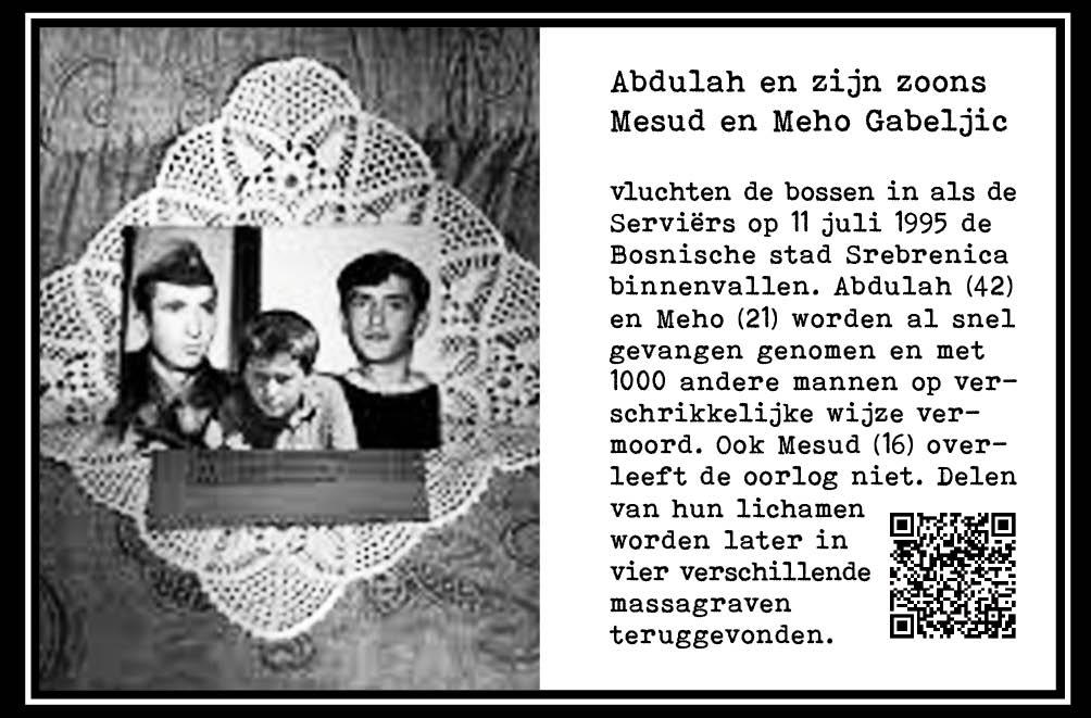 Abdulah, Mesud en Meho Gabeljic, 42, 16 en 21jr. Bosniërs. Vermoord. Genocide, Srebrenica. 1995. Onderdeel Toren van Babel, Kunstinstallatie ©Helena van Essen