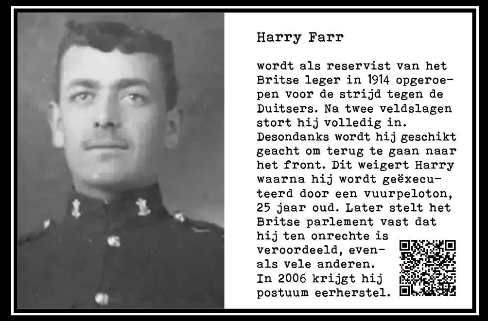 Harry Farr, als Brits reservist naar WO-I. Krijgt shell shock. Moet toch. Weigert. Executie volgt. 25jr. Onderdeel Toren van Babel, Kunstinstallatie ©Helena van Essen