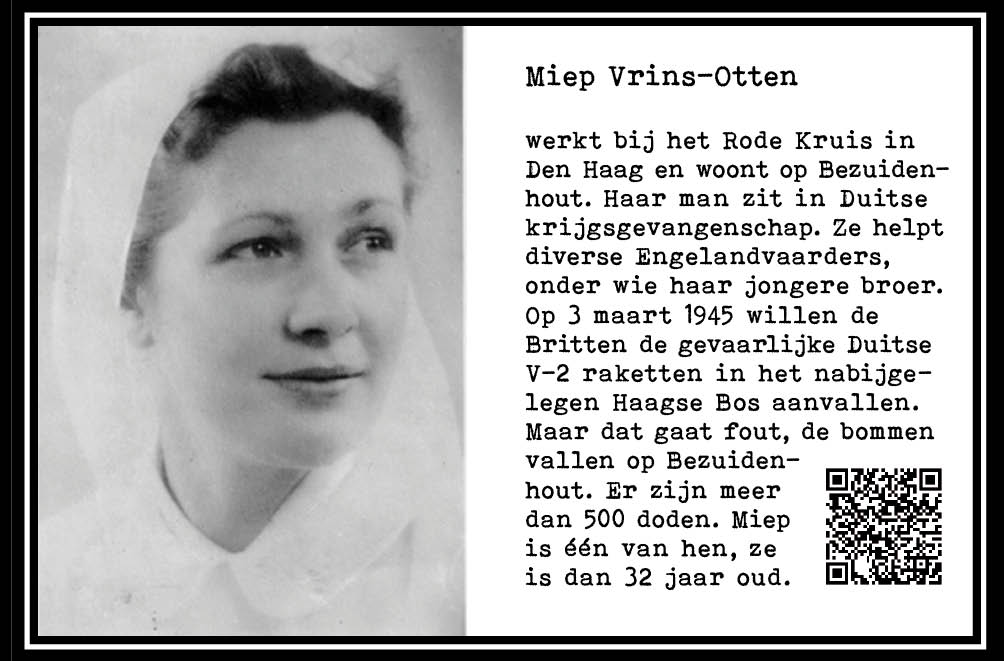 Miep Vrins-Otten, ondersteunt verzet. Slachtoffer bombardement Bezuidenhout Den Haag. 1945, 32 jr. wo-II. Onderdeel Toren van Babel, Kunstinstallatie ©Helena van Essen