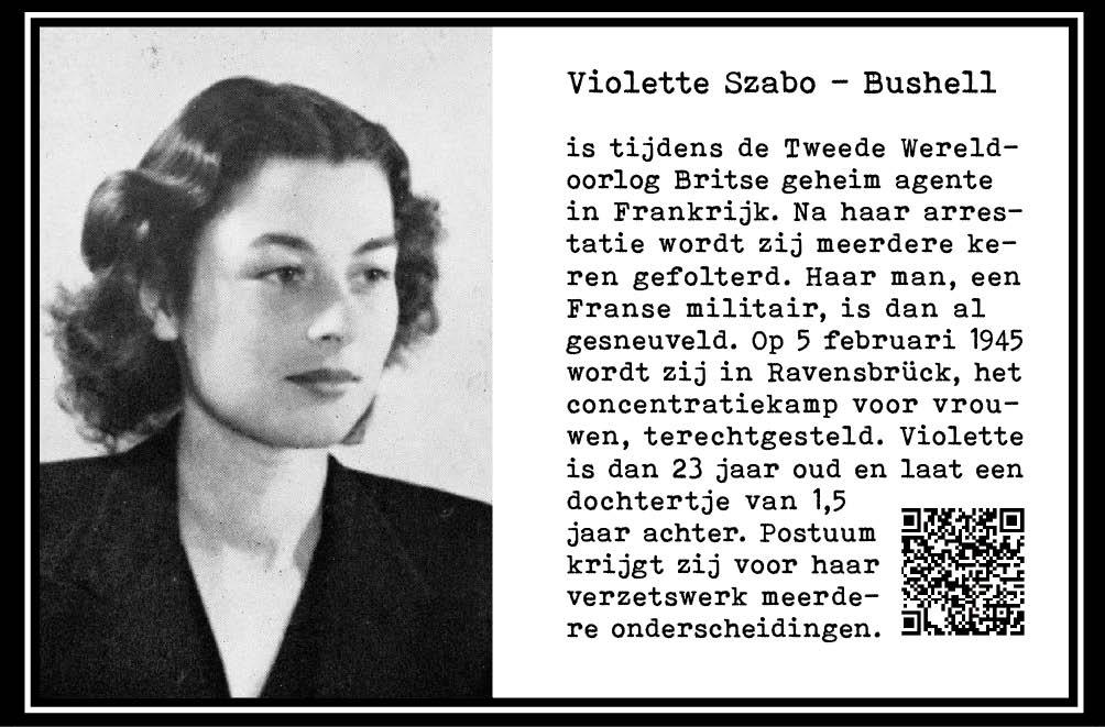 Violette Szabo-Bushell, geheim agente wo-II. Ravensbrück. Executie 1945. 23jr. Postuum onderscheiden. Onderdeel Toren van Babel, Kunstinstallatie ©Helena van Essen
