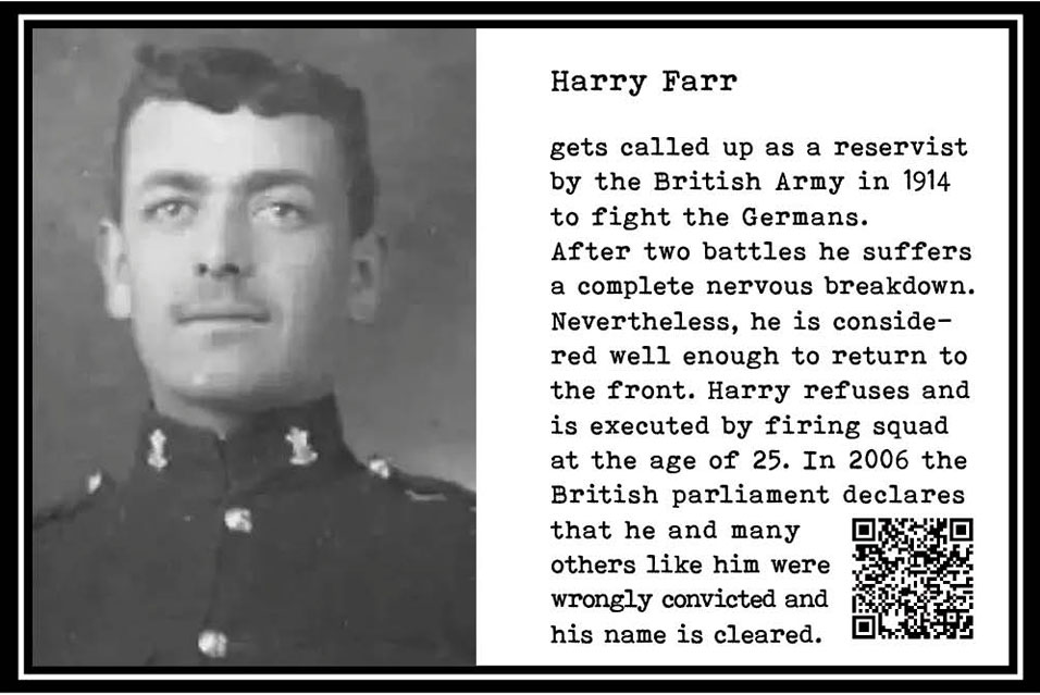 Harry Farr, British reservist in WW I. Gets shell shock. Must go. Refuses. Execution follows. 25 yrs. Part Tower of Babel, Art installation © Helena van Essen
