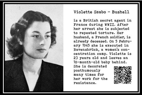 Violet Szabo-Bushell, secret agent WW II. Ravensbrück. Execution 1945. 23 yrs. Distinguished posthumously. Part Tower of Babel, Art installation © Helena van Essen